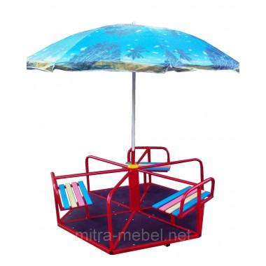 Карусель уличная шестиместная с зонтом КР-604