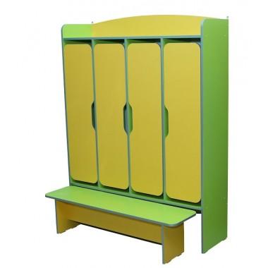 Шкаф для раздевалки 4-дверный со скамейкой