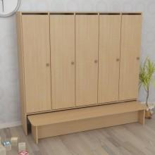 Шкаф детский пятисекционный с лавкой (1520*300*1400h)