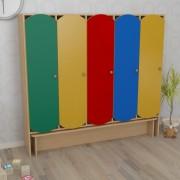Шкаф детский пятисекционный с лавкой цветной (1520*300*1400h)