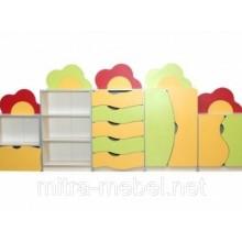 Стенка для игрушек / учебных пособий Цветик (3000х300х1247 мм)