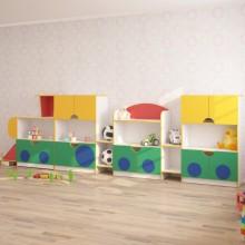 Стенка для игрушек ПАРОВОЗ (4100*400*1250h)