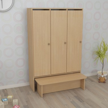 Шкаф детский трёхсекционный с лавкой (920*300*1400h)