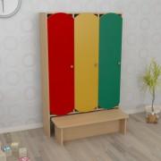 Шкаф трёхсекционный с лавкой цветной (920*300*1400h)