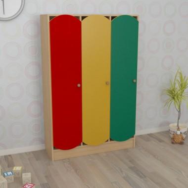 Шкаф детский трёхсекционный цветной (920*250*1250h)