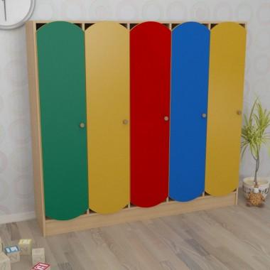 Шкаф детский пятисекционный цветной (1520*250*1250h)