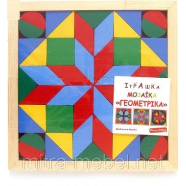 Мозаика - геометрика, 4 вида деревянных фигур