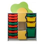 Детская стенка Цветочная поляна №11с пластиковыми ящиками (973х400х1365h)