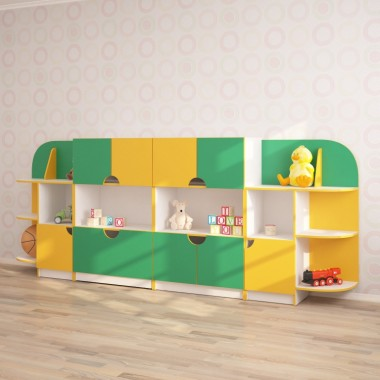 Детская стенка для игрушек ЧЕБУРАШКА (3170*400*1250h)