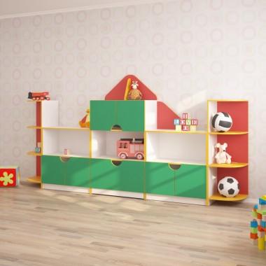 Стенка ДОМИК для игрушек (3170*400*1600h)