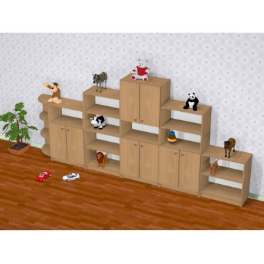 Детская стенка для игрушек Стандарт (3300*320*1500h)